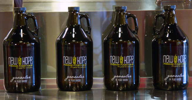 Environmentally friendly growlers for New Hope Premium Fountain